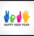 creative happy new year 2015 design with finger vector image vector image