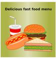 delicious fast food menu icon vector image