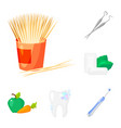 Dental care cartoon icons in set collection for