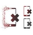 destructed pixel halftone wrong smartphone icon vector image vector image