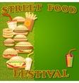 Fast food poster with hamburger potato fries hot vector image