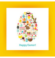 Flat Egg Shaped Set of Happy Easter Objects over vector image vector image