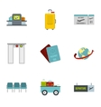 Flights icons set flat style vector image vector image