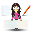 Girl in Pink Shirt with Empty Paper Sheets and vector image