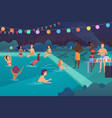 happy young people having a pool party at night vector image vector image