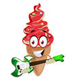 ice cream playing guitar on white background vector image vector image