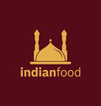 indian food flat logo design template in brown vector image
