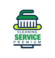 linear logo for cleaning agency with brush vector image vector image