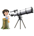 Little girl looking through telescope vector image