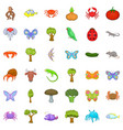 live nature icons set cartoon style vector image vector image