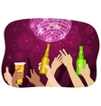 many hands raised up holding beer at party vector image vector image