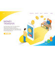 money transfer landing page website vector image vector image