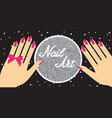 nail artwoman hand with red fingernails gift vector image vector image
