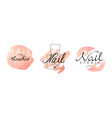 nail logo original design set manicure studio vector image