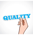 quality word in hand vector image vector image