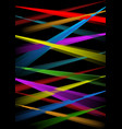 rainbow laser rays on black background vector image vector image