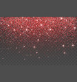 red glitter sparkle on a transparent background vector image vector image