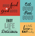 retro food quote designs set colorful labels vector image