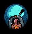 scary halloween severed pumpkin head vector image