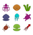 sea creature icon set color outline style vector image vector image