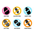 set icon egg free gluten dairy nut no vector image