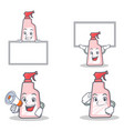 set of cleaner character with board megaphone vector image