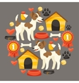 Set of icons and objects with cute dogs vector image