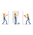 set of male worker working with walls vector image