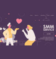 smm service banner concept happy scientist vector image