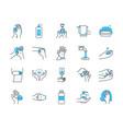 soap and hand hygiene icon set half color half vector image vector image