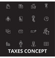 taxes editable line icons set on black vector image vector image