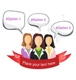 Three business womans wearing a suit background vector image