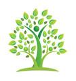 tree green teamwork figures icon vector image