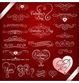 vintage decorative elements for valentines day vector image