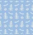 winter forest tree doodles seamless pattern vector image vector image