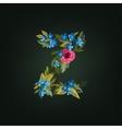 z letter Flower alphabet Colorful font vector image