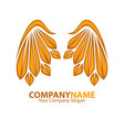 company name emblem with golden angel wings web vector image