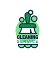 linear style logo for cleaning service with brush vector image