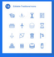 16 traditional icons vector image vector image