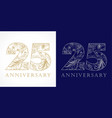 25 anniversary vintage silver gold vector image vector image