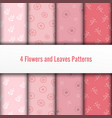 4 set flower and leaves seamless patterns vector image