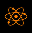 atom sign orange icon on black vector image vector image