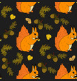 autumn seamless pattern with squirrel vector image vector image