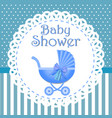 bashower invitation with blue background baby vector image