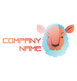 blue and pink sheep head on a white background vector image