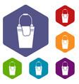 bucket and rag icons set vector image