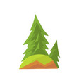 cartoon landscape scene with forest firs and green vector image vector image