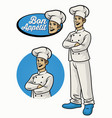 chef character wearing uniform in crossed arm pose vector image vector image