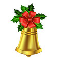 christmas golden bell holly sprig and bow vector image vector image