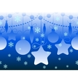 Christmas seamless horizontal blue pattern vector image vector image